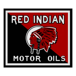 Red Indian Motor Oil vintage sign flat vers Print