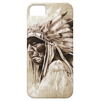 Red Indian Sketch Design iPhone 5 Cases