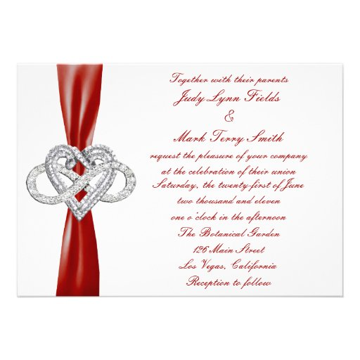 Red Infinity Heart Wedding Invitation