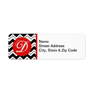 Red Initial Monogram Black & White Zizzag Chevron Return Address Label