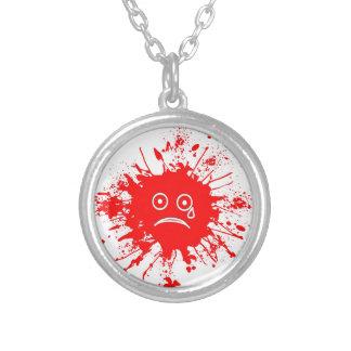 Red Ink Blotch Round Pendant Necklace