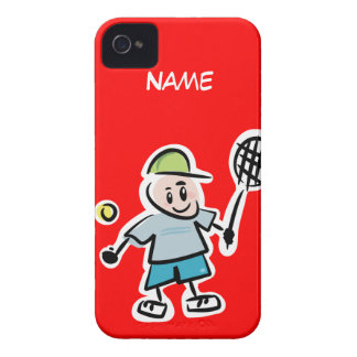 Red iphone case with funny tennis cartoon design iPhone 4 Case-Mate case