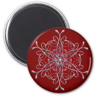 Red Iridescent Snowflake Magnet