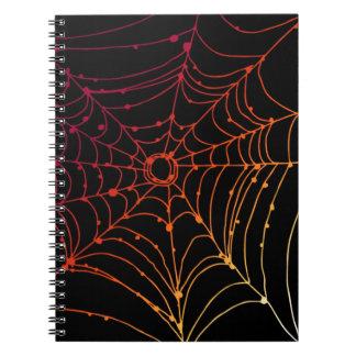Red-ish gradient spider web spiral notebook