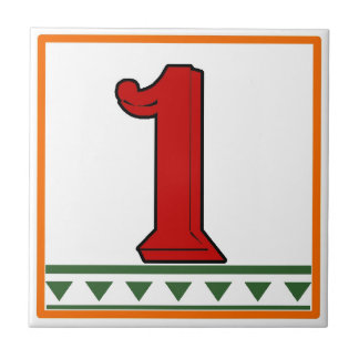 Red Italian Letters & Numbers Tile
