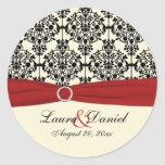 "Red, Ivory, and Black Damask 1.5"" Round Sticker"