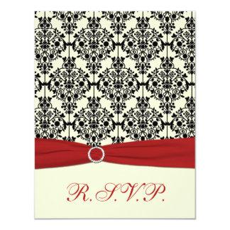 Red, Ivory and Black Damask RSVP Card 11 Cm X 14 Cm Invitation Card