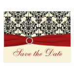 Red, Ivory, and Black Save the Date Postcard