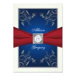 Red Ivory Blue Floral Monogram Wedding Invitation 13 Cm X 18 Cm Invitation Card