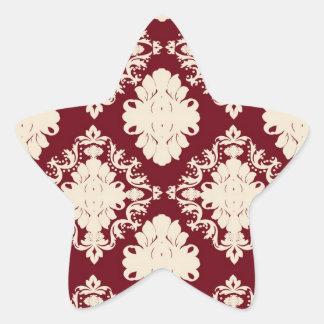 red ivory romantic elegant damask pattern sticker