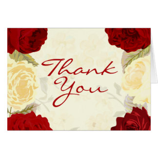 Red & Ivory Roses Thank You Cards