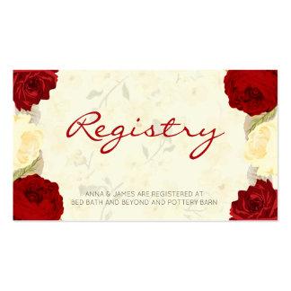 Red & Ivory Roses Wedding Registry Card Pack Of Standard Business Cards