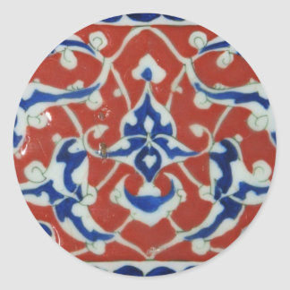 Red Iznik Turkish Tile Ottoman Empire Classic Round Sticker