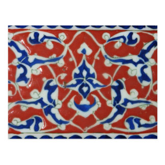 Red Iznik Turkish Tile Ottoman Empire Postcard