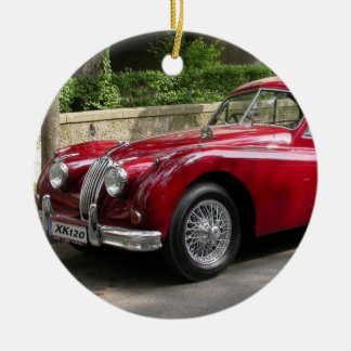 Red Jaguar XK120 Christmas Ornament
