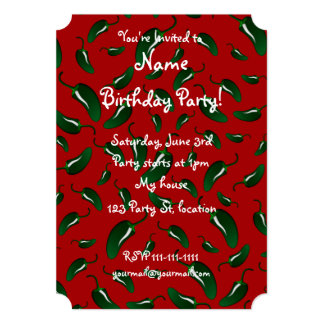 """Red jalapeno peppers pattern 5"""" x 7"""" invitation card"""