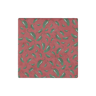 Red jalapeno peppers pattern stone magnet