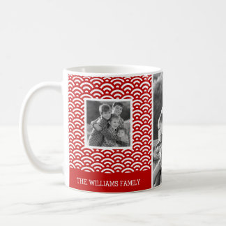 Red Japanese Pattern | Family Photos & Text Coffee Mug