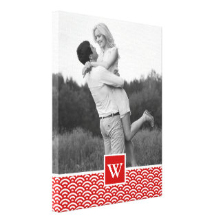 Red Japanese Pattern | Photo with Monogram Canvas Print