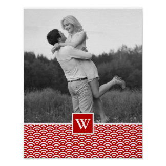 Red Japanese Pattern | Photo with Monogram Poster