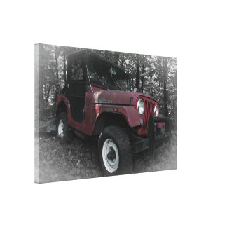 Red Jeep with Black and White Background Canvas Prints
