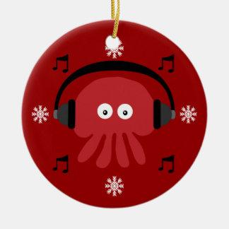Red Jellyfish DJ & Snowflakes Customizable Round Ceramic Decoration