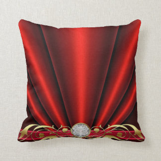 Red Jeweled Scroll Pillow Cushion