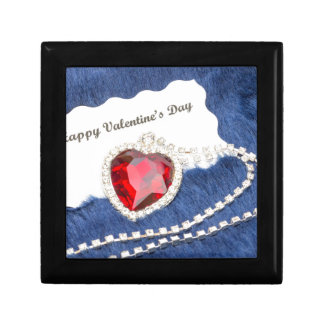 Red jewelry necklace with Valentine's card on blue Small Square Gift Box