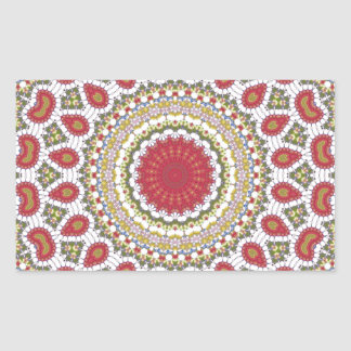 Red Jewels Mosaic Geometric Design Rectangular Sticker