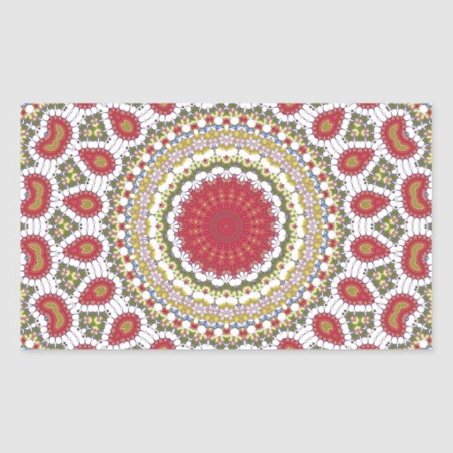 Red Jewels Mosaic Geometric Design Rectangle Stickers