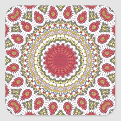 Red Jewels Mosaic Geometric Design Square Stickers