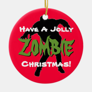 Red Jolly Zombie Christmas Ornament
