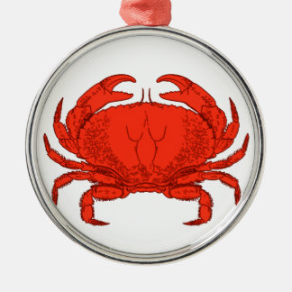 Red Jonah Crab Logo Silver-Colored Round Decoration