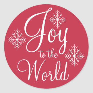 Red Joy to the World Christmas Stickers