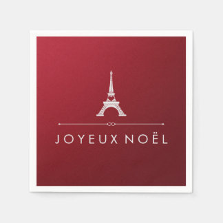 Red Joyeux Noel French Christmas and Eiffel Tower Paper Napkin