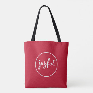 RED | Joyful Modern Holiday Tote Bag