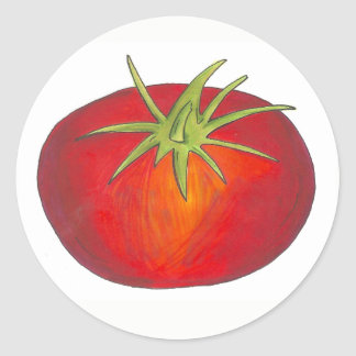 Red Juicy Ripe Tomato Italian Vegetable Garden Classic Round Sticker
