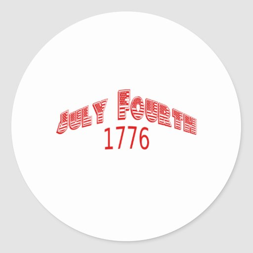 Red July Fourth 1776 Sticker