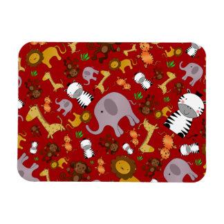 Red jungle safari animals rectangular magnet