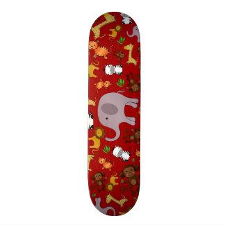 Red jungle safari animals skate boards