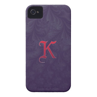 Red 'K' on purple embossed effect 3D fractal Case-Mate iPhone 4 Cases