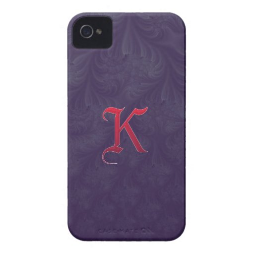 Red 'K' on purple embossed effect 3D fractal. Case-Mate iPhone 4 Cases