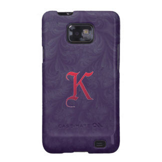 Red 'K' on purple embossed effect 3D fractal Samsung Galaxy S2 Case