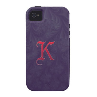 Red 'K' on purple embossed effect 3D fractal iPhone 4/4S Covers