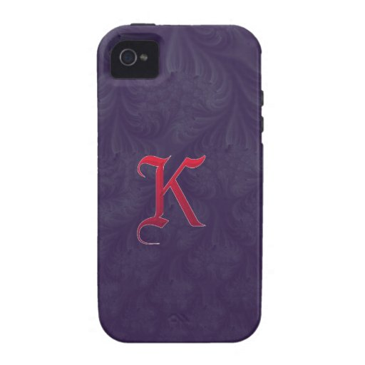 Red 'K' on purple embossed effect 3D fractal. iPhone 4/4S Covers