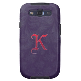 Red 'K' on purple embossed effect 3D fractal Galaxy SIII Covers