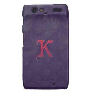 Red 'K' on purple embossed effect 3D fractal Droid RAZR Cover