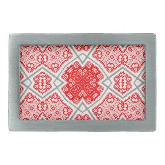 Red kaleidoscope rectangular belt buckles