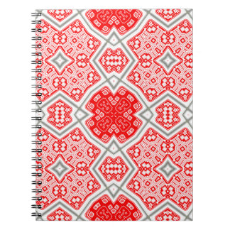 Red kaleidoscope spiral notebook