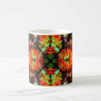 Red kaleidoscope star pattern coffee mug